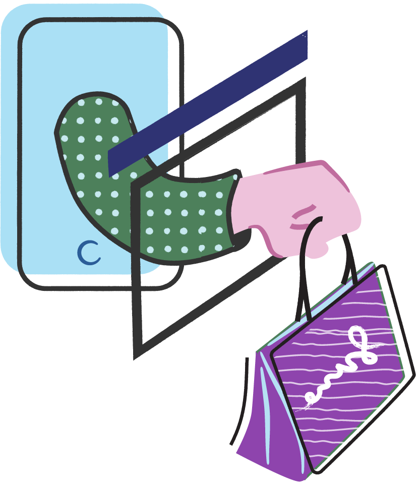 An illustration of an outstretched arm holding a shopping bag.