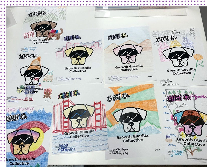 A collection of brightly colored GGC flyers.