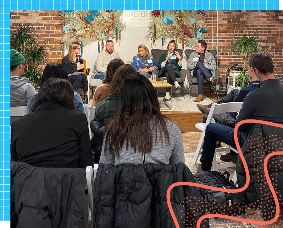 A full panel of speakers sitting on a comfortable couch at a GGC meetup.