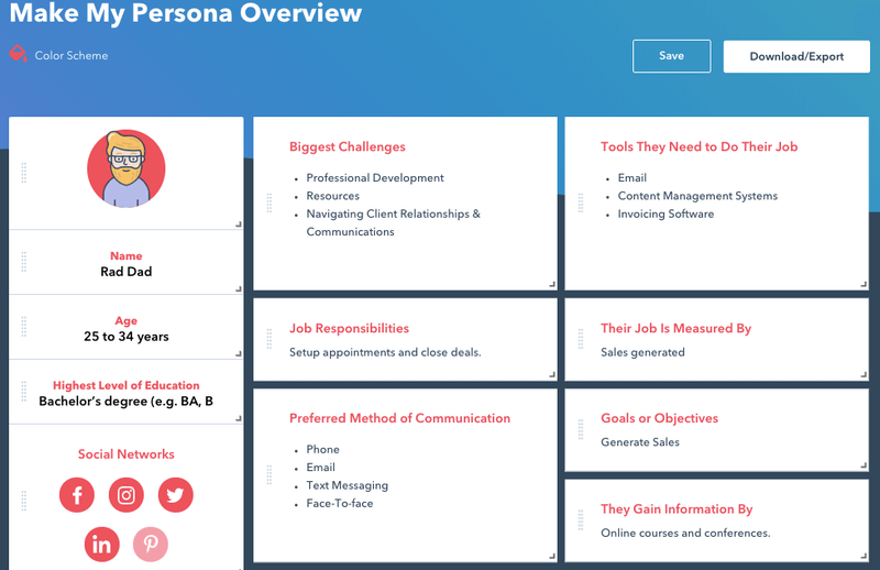 A sample buyer persona created through HubSpot's buyer persona generator tool.